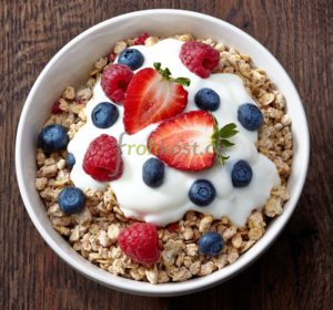 18816572 - bowl of muesli and yogurt with fresh berries